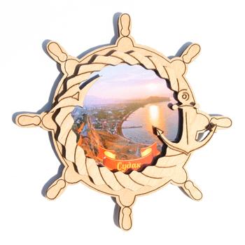 Деревянный магнит Многослойный цветной Судак