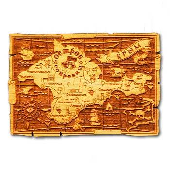 Деревянный магнит Пиратская карта Крым