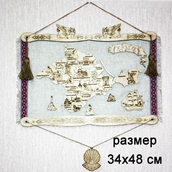 Панно на холсте дерево Карта Крыма Большая