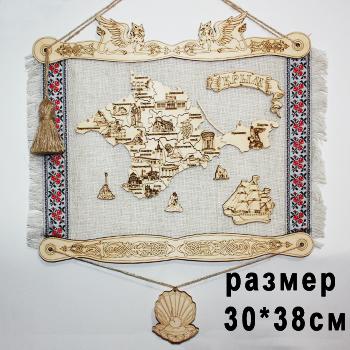 Панно на холсте дерево Карта Крыма маленькая