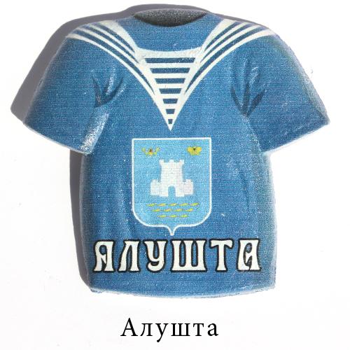 Керамический магнит футболка синяя Алушта