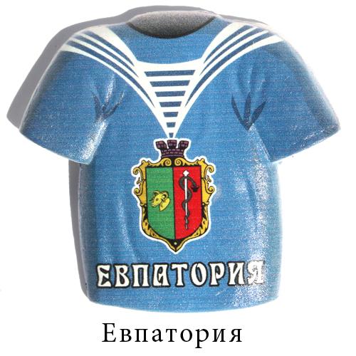 Керамический магнит футболка синяя Евпатория