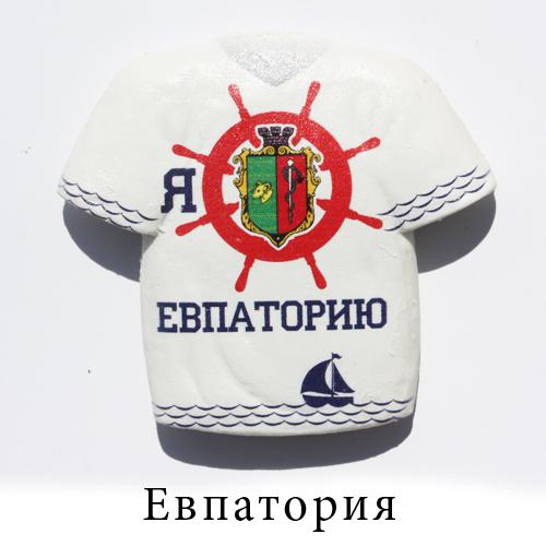 Керамический магнит футболка белая Евпатория