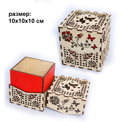 Шкатулка резная деревянная Куб 10*10*10см