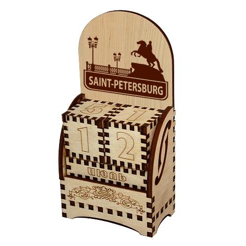 Деревянный календарь Санкт-Петербург англ