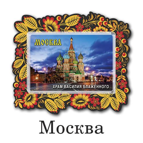 Деревянный магнит с акрилом Москва