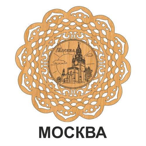 Тарелка деревянная резная 21,5 см Москва