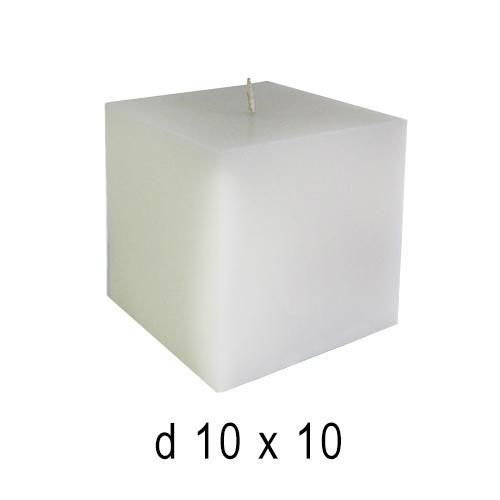 Белые свечи Куб-3 белый 10*10 см