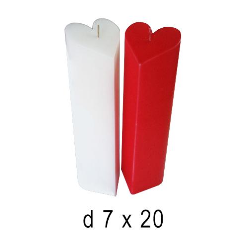 Белые свечи Сердце столбик 7*20 см