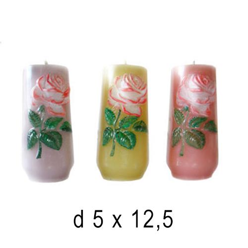 Плавающие цветы и свечи Ваза с розой 5*12,5 см