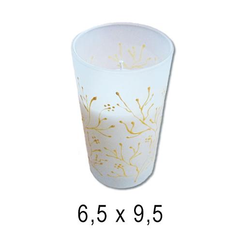 В стекле свечи  Стакан с ручной росписью 6,5*9,5 см