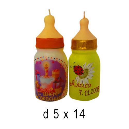 День Рождения и Юбелей  Свеча Детская бутылочка 5*14 см