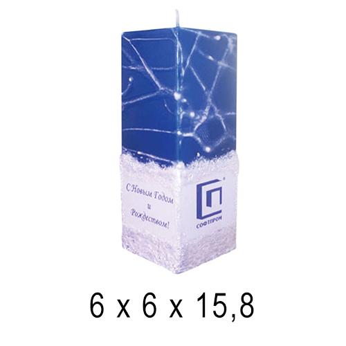 С логотипом свечи Квадрат средний 6*6*15,8 см