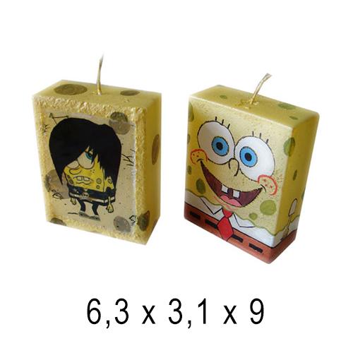 Фигурные и прикольные свечи  Губка Боб 6,3*3,1*9 см