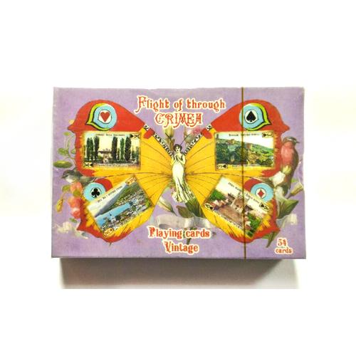 Карты игральные - виды Крыма, ретро, 54шт. - бабочка