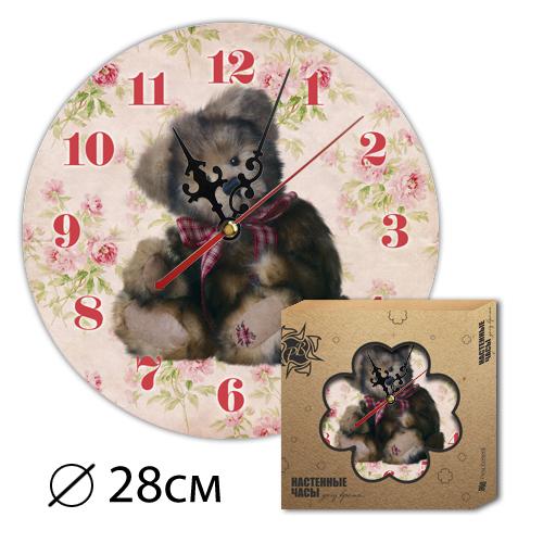 Часы Деревянные Цветные Мишка