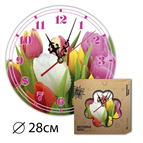 Часы Деревянные Цветные Тюльпаны