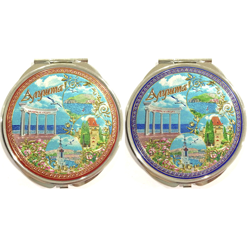 Зеркало космет Крым - 2-х-стор 72мм - Алушта коллаж (2 вида)