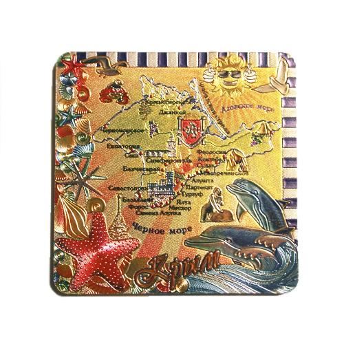 Магн фол Крым - Карта - дельфины (2вида)