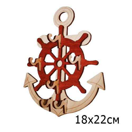 Ключница резная деревянная Якорь со штурвалом 18*22 см