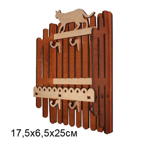 Ключница резная деревянная Заборчик с Кошкой 17,5*6,5*25см