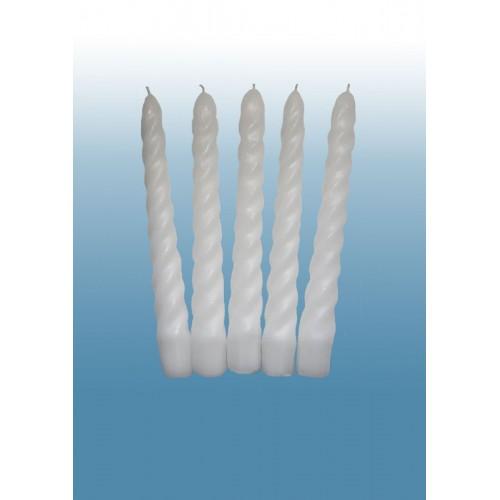 Бытовые и ресторанные свечи  Белая витая 23 см