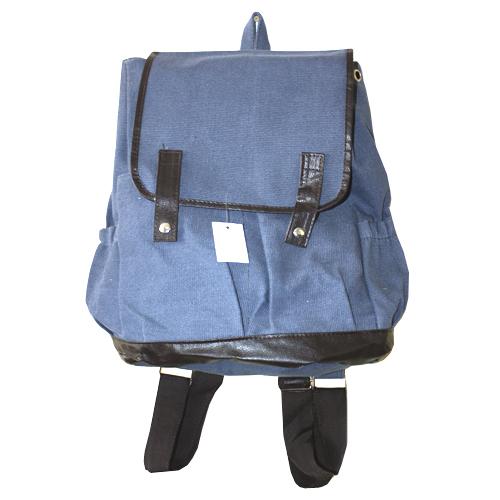 Рюкзак Холщовый Синий Модель Д лямки темно-корич.
