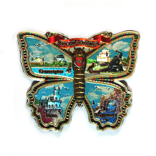 Магн фол Крым - бабочка - Крым коллаж Евпатория+Саки+Ялта+Тарханкут