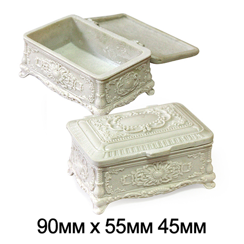 Шкатулка керамическая прямоуг Резная Белая  9*5,5*4,5см