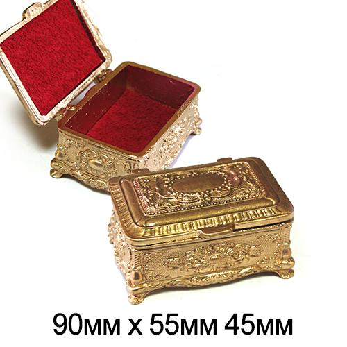 Шкатулка керамическая прямоуг Резная Золото 9*5,5*4,5см