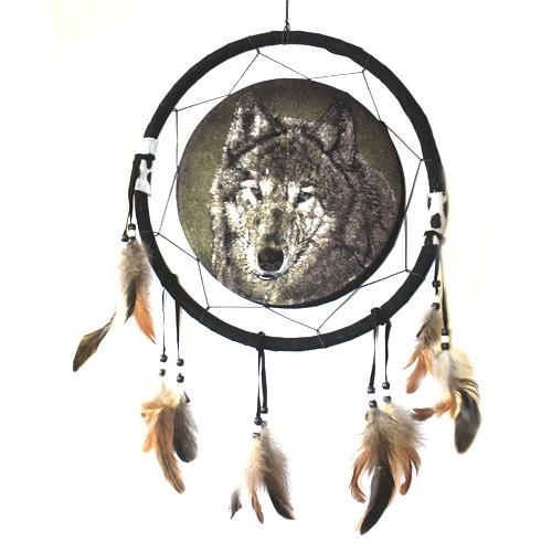 Ловушка снов 30см Бубен Шамана Волк