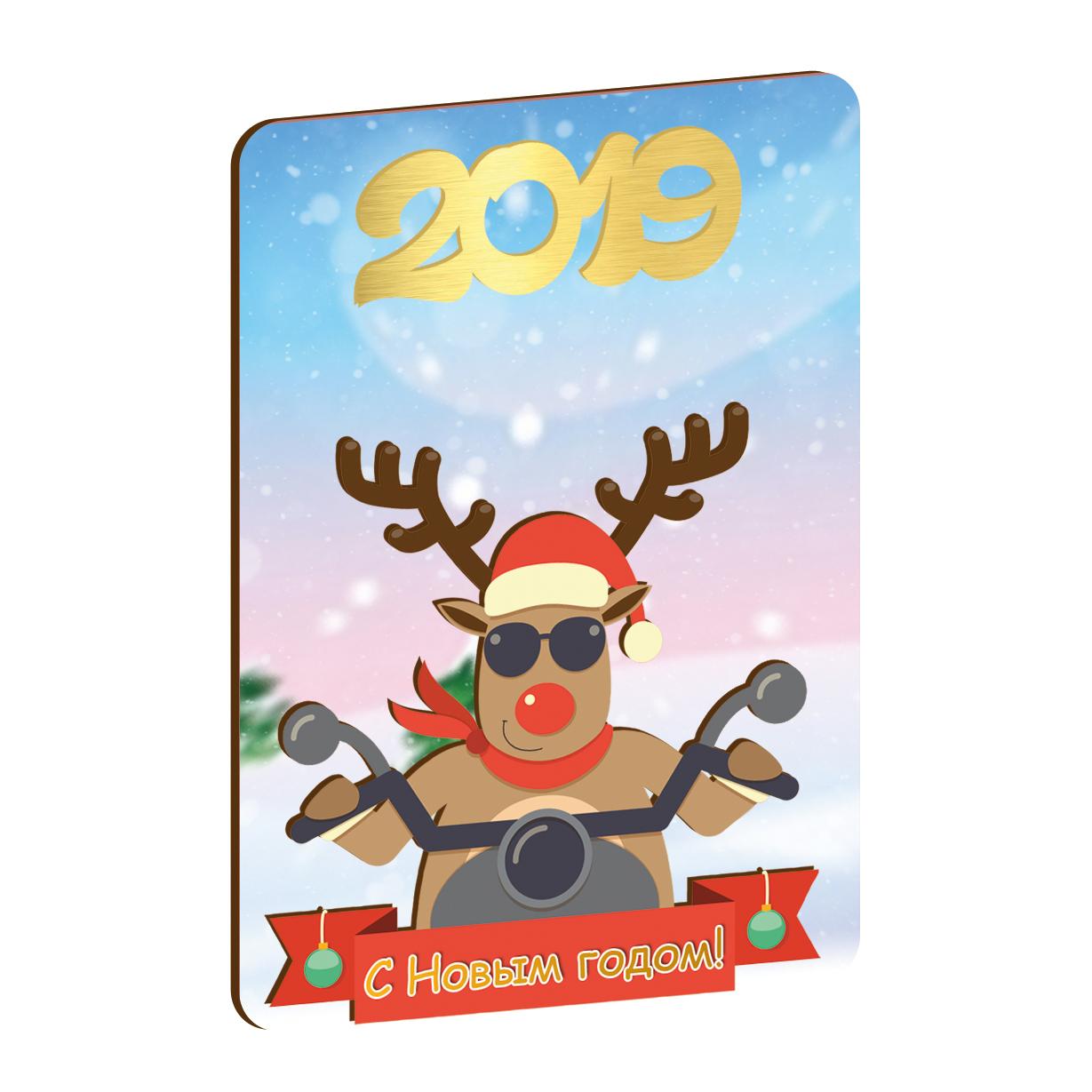 Деревянный магнит многосл цвет+золото Новый Год 2019 - год Свиньи