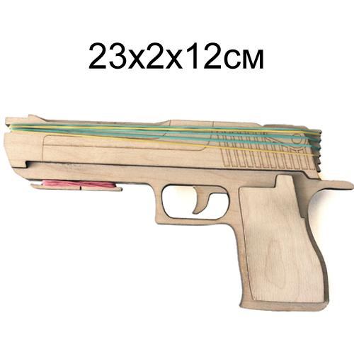 Пистолет  деревянный игрушечный с зарядом из резинок 23*2*12 см