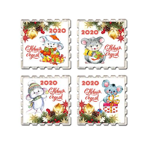 Набор Акриловых магнитов Новый год 2020 - год Крысы 4шт
