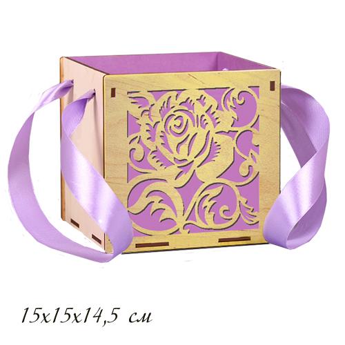 Шкатулка деревянная с лентой Фиолет 15*15*14,5см