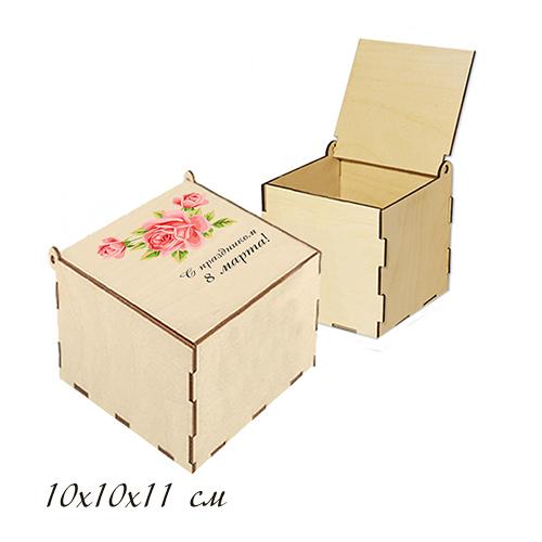 """Шкатулка деревянная с цветной надписью """"Роза"""" 10*10*11см"""