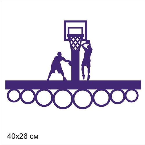 """Медальница дерев.""""Баскетбол"""" цвета в ассорт  40*26 см"""
