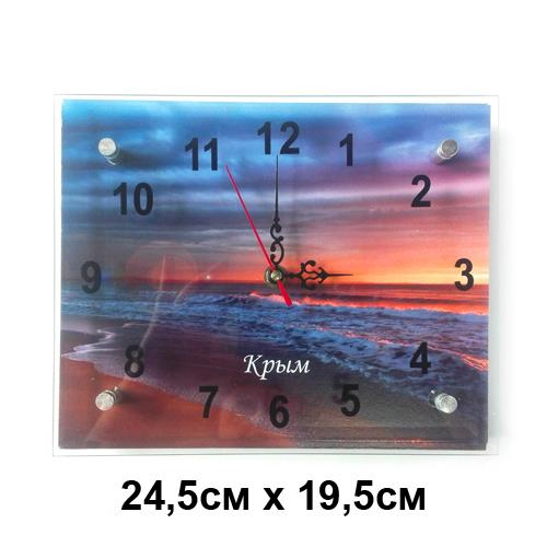 Часы  Виды Крыма Стекло  Крым Закат