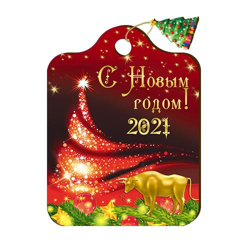 """Доска Разделочная Цветная с подвесом """"Бык у красной елки"""" Новый год"""