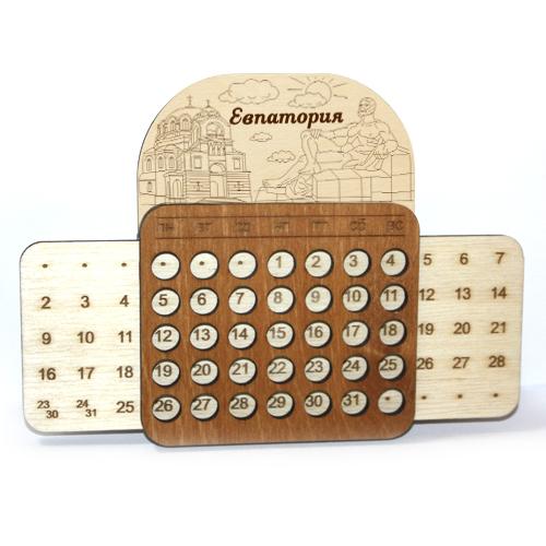 Деревянный календарь выдвижной гравированный Евпатория