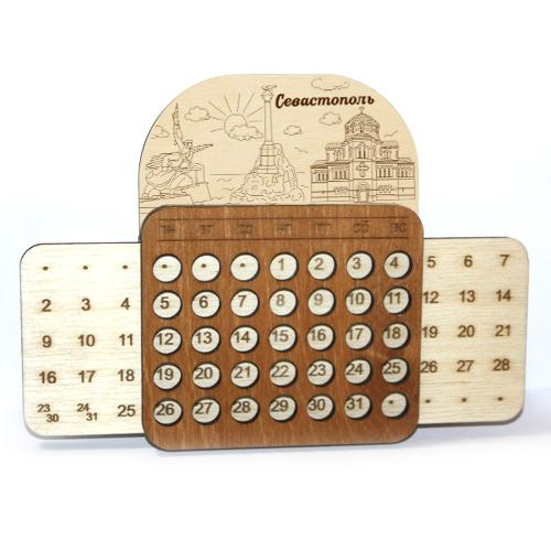 Деревянный календарь выдвижной гравированный Севастополь