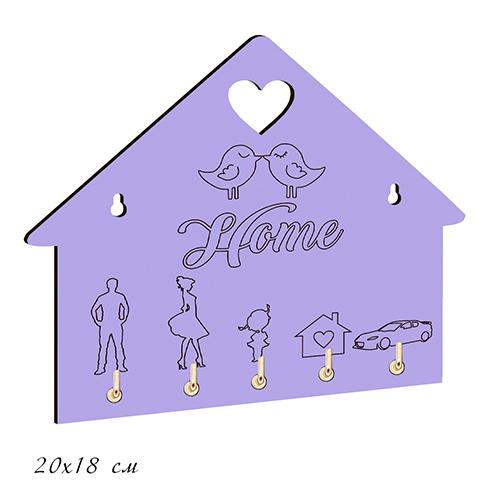 """Ключница деревянная цветная """"HOME.Птички"""" 20*17см"""