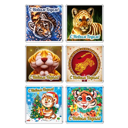 Набор Акриловых магнитов Новый год 2022 Тигр 6шт